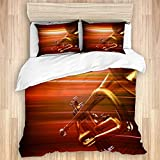 Juego de funda nórdica de 3 piezas, fondo de música borroso rojo abstracto con trompeta, juegos de fundas de edredón de microfibra de lujo para dormitorio, colcha con cremallera con 2 fundas de almoha