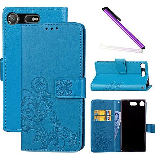 COTDINFOR Sony Xperia XZ1 Compact Hülle für Mädchen Elegant Retro Premium PU Lederhülle Handy Tasche im Bookstyle mit Magnet Standfunktion Schutz Etui für Sony Xperia XZ1 Compact Clover Blue SD.