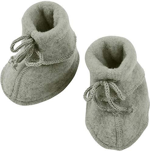 Engel Baby Fleece-Schühchen mit Bändel u. Flatlocknähten Bio-Schurwolle Hellgrau Melang 62/68-74/80
