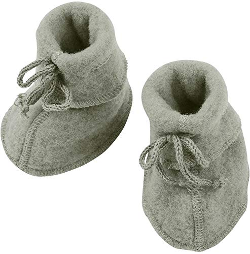 Engel Baby Fleece-Schühchen mit Bändel und Flatlocknähten Bio-Schurwolle Hellgrau Melange 50/56