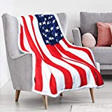 US Flag Patriotic Sherpa Throw American Flag Blanket, Super Cozy Fleece Plush Bed Throw TV Blankets Reversible for Bed or Couch 50' x 60' | USA Flag