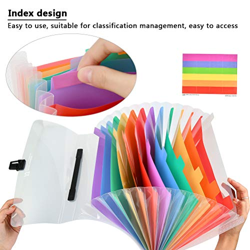 YOTINO Large Capacity Expanding File Folders, 13 Pockets Plastic Expanding Accordion Folders with Small Colored Labels, Letter Size Portable Document Holder, A4 File Organizer for School Business Offi Photo #7