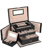 SONGMICS Boîte à bijoux, Organisateur à bijoux avec 2 tiroirs, Coffre à bijoux verrouillable avec miroir, Boîte de voyage portable, doublure en velours, idée cadeau, Noir JBC121B