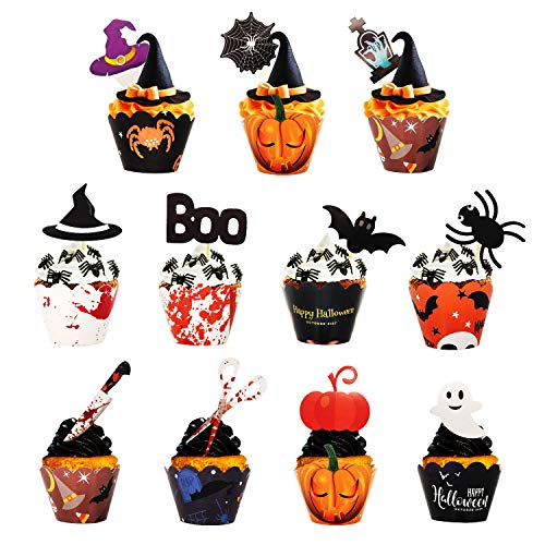 ECHOAN 96 Piezas Decoracion Tarta Halloween Fiesta, Decoracion para Tartas Infantiles, Halloween Cake Topper, para decorar cupcakes, Pâtisserie