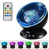 Lampe Projecteur LED, Simulation des Vagues Océan 7 Modes Veilleuse de Nuit avec Télécommande Mini Enceinte Intégrée [Classe énergétique A +]