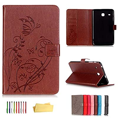 UUcovers Folio Case for Samsung Galaxy Tab E 8.0 inch 2016 Tablet (SM-T375 & T377 & T378),Embossed Vintage PU Leather Magnetic Wallet Book Stand Shell with Pocket Cards Holder, Brown Butterfly Flower