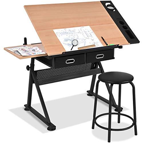 GOPLUS Zeichentisch Höhenverstellbar, Schreibtisch Neigungsverstellbar, Architektentisch mit Hocker, Schülerschreibtisch Bürotisch