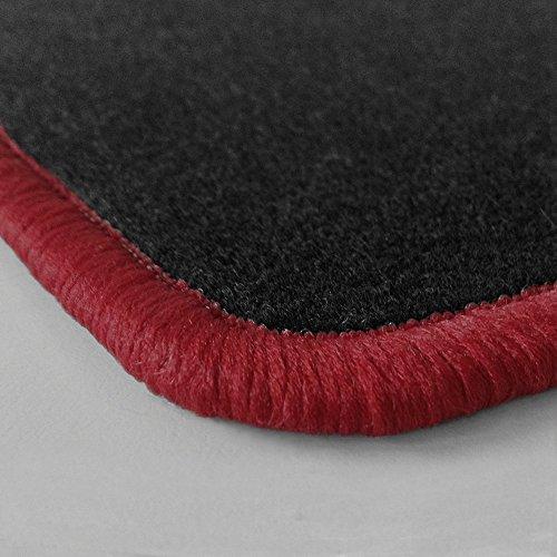 (Randfarbe nach Wahl) Passgenaue Fußmatten aus Nadelfilz mit bordeauxem Rand (309)