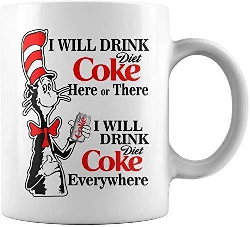 r. Seuss 'S Love For Coke Beberé Coca-Cola Light aquí o allá Taza de café - 11 oz Blanco Regalo para amigo Amante Esposo Esposa Colega Hermano en el día de la madre Día del padre Cumpleaños Na
