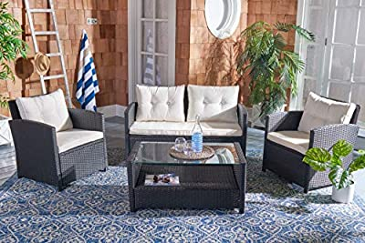 Safavieh PAT7516A Collection Vellor Black and Beige 4-Piece Outdoor Living Patio Set