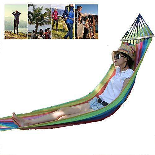 DASGF Hangmat, single dickening hangmat zwenken met houten pen, camping hammock, lichtgewicht nylon draagbare hangmat voor backpacking, camping, reizen, beach, yard