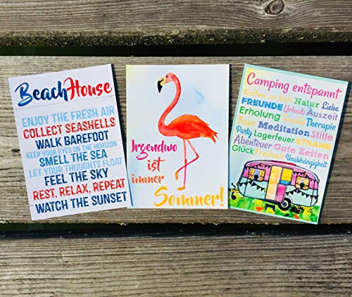 Beach House! Flamingo - Irgendwo ist immer Sommer! Camping entspannt! Postkarten Set 3 Stück AnneSvea postcard Urlaubsgrüße Camper Bus Wohnmobil Wohnwagen Van Deko Adventskalender Befüllung