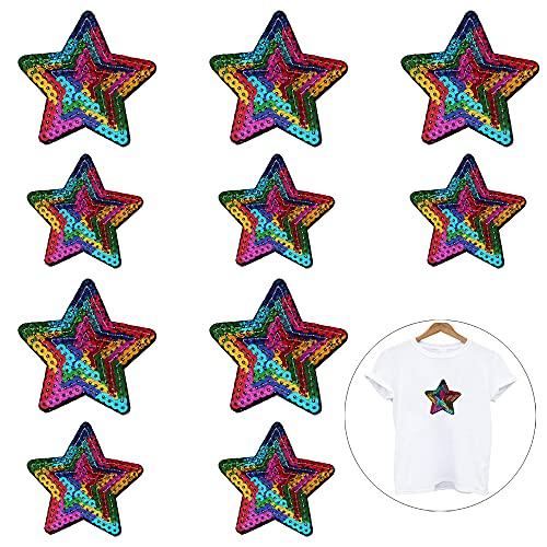 Nifocc Parches de lentejuelas con estrellas bordadas para ropa, vaqueros, chaquetas, sombreros, bolsos, mochilas, zapatos, decoración, multicolor, grande, pequeño, 10 unidades