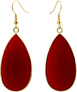 Women's Stone Slice Dangle Drop Earrings for Women, Round Teardrop Shape