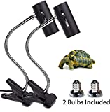 2-Pack 50W UVA UVB Lamp Lights with Bulbs | Heat and Light for Reptiles and Amphibian Tanks, Terrariums and Cages | Adjustable and Rotates 360° | Clip or Hang Light | Works with Various Light Bulbs
