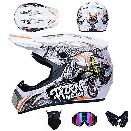 OUUUKL Motocross Helmet, Off Road Motorcycle Helmet Full Face MTB Helmet Set with Goggles Gloves Mask, Male and Female ATV Mountain Bike Quad Bikes