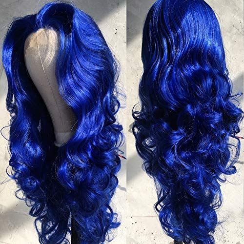 FSLWIGS Blue Lace Front Wig Long Body Wavy Wig Synthetic Hair Look Natural Wigs for Women