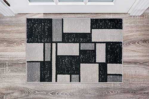Contemporary Modern Boxes Design Gray Soft 2′ x 3′ Indoor Area Rug