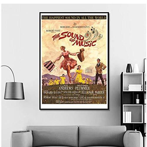 yhyxll Sound of Music Vintage Classic Movie Poster Sala de Estar Decoración para el hogar Arte de la Pared Pintura en Lienzo Impresión en lienzo-60X80Cm Sin Marco