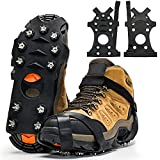 ZUXNZUX Crampons, Ice Cleats for Shoes and Boots, Stainless Steel Microspikes Grippers 11 Spikes Grips for Ice Snow, Suitable for Climbing, Ice Fishing, Hiking (Medium, Black)