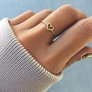 Rnydrny خاتم فضي على شكل قلب مع خاتم من الفضة مجوهرات عصرية للنساء والفتيات هدية خاتم زفاف