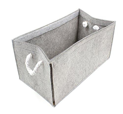 Luxflair Hochwertige Filz Aufbewahrungsbox Graumeliert mit Seil-Griffen (+weitere Farben) 45x25x23cm. Regalbox, Kaminholzbox, Zeitungskorb, waschbar bei 30°