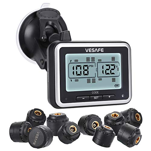 Vesafe TPMS, Wireless Tire Pressure Monitoring System for RV, Trailer, Coach, Motor Home, Fifth Wheel, with 10 Anti-Theft sensors