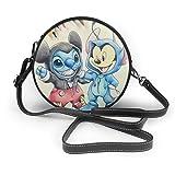 Stitch Lilo Mickey Minnie moda cuero redondo bolso de hombro cartera personalidad impermeable Cruz cuerpo bolsa para mujeres y hombres