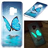 Galaxy S9 Case,Gift_Source Luminous Effect Noctilucent Glow in The Dark Case Colorful Flexible TPU Silicone Slim Fit Bumper Protective Cover for Samsung Galaxy S9 (5.8') [Starlight Butterfly]