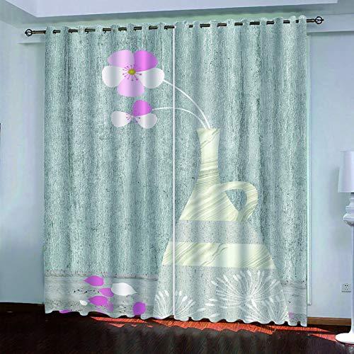 SSHHJ Cortinas Opacas De Poliéster Cortina Impermeable Y Duradera Adecuado para Cortinas De Hojas De Balcón, Dormitorio, Cocina 2 Piezas