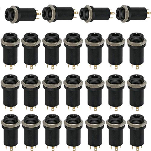 RUNCCI-YUN 3,5-mm-Mini-Klinkenbuchse, Stereo-Minibuchse, 3,5 mm Panel Mount Anschluss,Lötverbinder mit Muttern, für Kopfhörer/Audio/Video, vollständig vergoldet, 4-Kanal, 25 Stück