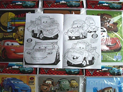 Coloring Book 12 Sets of Disney Pixar Cars and Crayon Set Children Party Favors Bag Filler