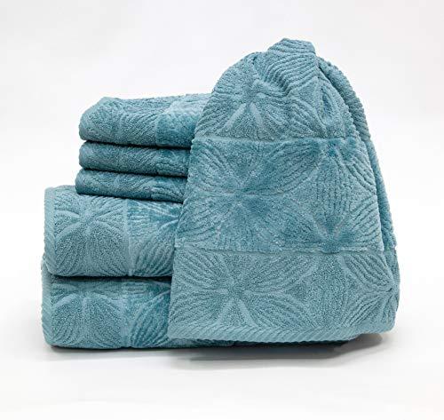 my cocooning Handtuch Set Agatha 6-teilig Petrol | kuschelweich & saugfähig | 100% Baumwolle | 2X große Duschtücher (70x140cm) & 4X kleine Handtücher (50x90cm) waschmaschinenfest