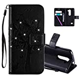 HMTECHUS LG Leon 4G LTE H340N Case 3D Crystal Embossed Love Cat Butterfly Handmade Diamonds Shine PU Flip Stand Card Holders Wallet cover for LG Leon 4G C40 Wishing Tree Black KT