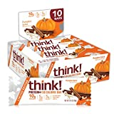 Think! Protein+ 150 Calorie Bars - pumpkin Spice Limited Edition, 10g Protein, 5g Sugar, No Artificial Sweeteners, Gluten Free, GMO Free, 1.4 Oz bar (10Count)