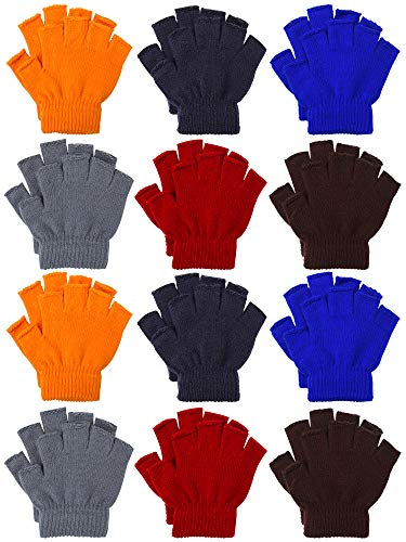 Cooraby 12 Pairs Unisex Kids Half Finger Mittens Teen Winter Warm Fingerless Stretchy Knit Gloves (6-12 Years, Mixed 6 colors)