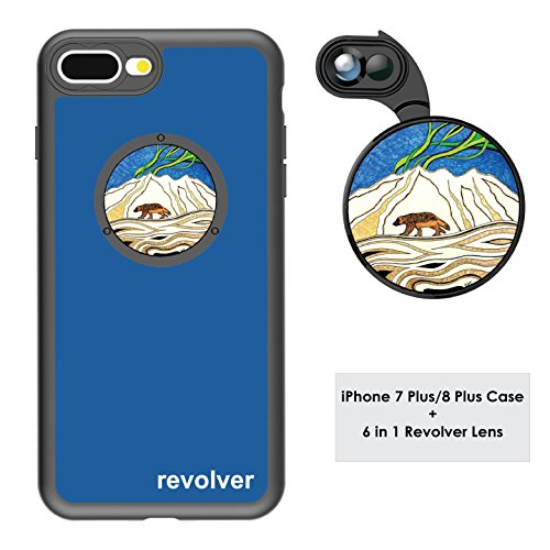 Ztylus Designer Revolver M Series Camera Kit: 6 in 1 Lens with Case for iPhone 7 Plus / 8 Plus - 2X Telephoto Lens, Macro, Super Macro Lens, Wide Angle Lens (Wolverine Blue)