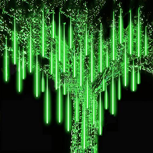 Roytong Waterproof Cascading LED Meteor Shower Rain Lights Outdoor for Holiday Party Wedding Christmas Tree Party Tree Decoration Birthday Gift (Green, 11.80)