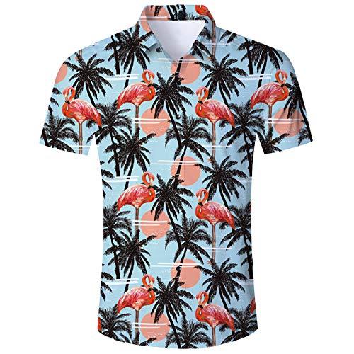 AIDEAONE Herren Flamingo Hawaii Kurzarm Hemd Knopf Hemd Urlaub Freizeithemd Gelb