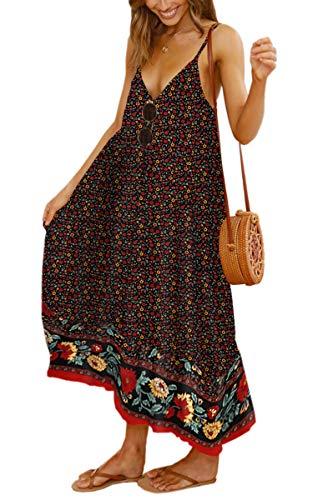 Angashion Women's Dresses Floral Adjustable Spaghetti Strap V Neck Boho Long Maxi Dress Summer Beach Flowy Ethnic Sundress 2142 Black Small