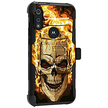 MINITURTLE Compatible with Motorola Moto E  2020  Hard Shell Hybrid Dual Layer Holster Belt Clip Case Cover [Clip Armor] - Fire Skull