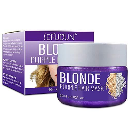 Purple Hair Mask, Anti Yellow Hair Mask, Anti-Gelbstich Conditioner, Silberne Haarmaske Silber Haarmaske Intensive Haarpflege für Trockenes, Strapaziertes und Geschädigtes...