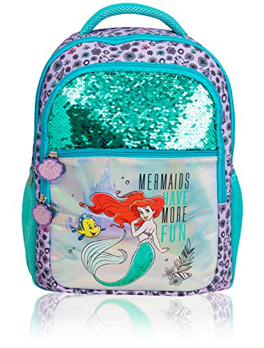 Disney Mädchen Rucksack | Die Kleine Meerjungfrau Rucksack Mit Arielle Die Meerjungfrau, Disney Castle, Pailletten & Holographischem Design | Meerjungfrauen Haben Mehr Spaß Kinderrucksack