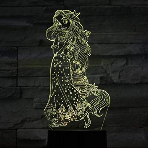 Nur 1 Stück Prinzessin Rapunzel Figur USB 3d LED Nachtlicht Dekoration Mädchen Kinder Kinder Baby Geschenke 7 Farbwechsel visuelle Tischlampe