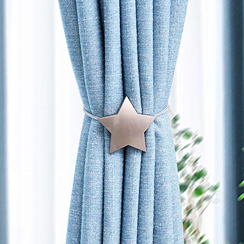 JQWUPUP Magnetic Curtain Tiebacks, Retro Star Drape Rope Tie Backs Holder Buckle - Decorative Curtain Holdbacks Clip for Sheer and Blackout Curtain (2 Pieces, Silver)