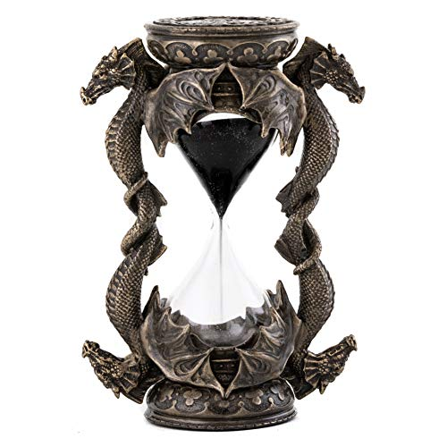 Top Collection Decorative Black Dragon Hourglass - Mythical Sand Timer in Premium Cold Cast Bronze - 5.75-Inch Collectible Medieval Celtic Clock Sculpture