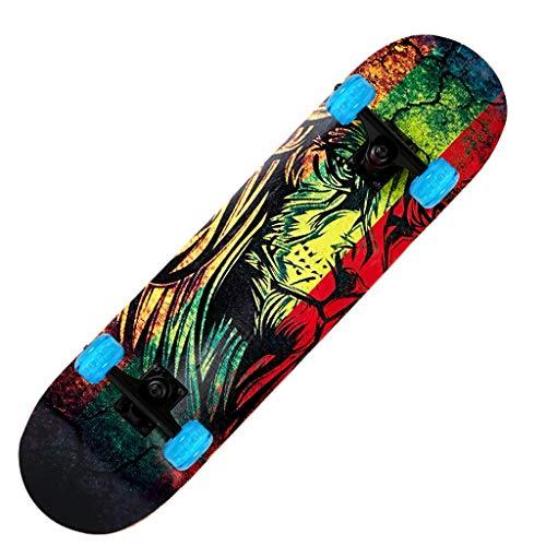 ZCR Skateboard Deck, Erwachsene Kinder Skateboard, Komplettboard mit ABEC-7 Lager 9-Schicht 92A Hard Maple Deck, 31 x 7,5 lnches Last 150 kg for Anfänger und Profis (Color : D)