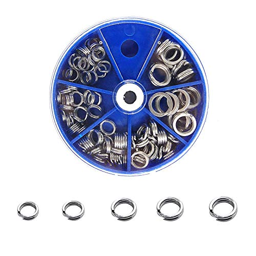 Double Split Rings Heavy Duty Stainless Steel Fishing Split Ring kit Lure Connectors Fishing Tackle 100pcs