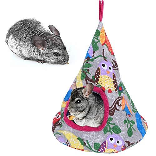 Hffheer Hamaca Colgante para hámster, Camas cónicas para Cuevas, Camas pequeñas para Columpios para Mascotas, Accesorios para jaulas para Mascotas, Ardilla Totoro, hámster para Dormir (búho Luna)