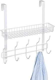 NEX Over The Door Coat Hook Organizer Bathroom Towel Hanging Rack, White(D012A)